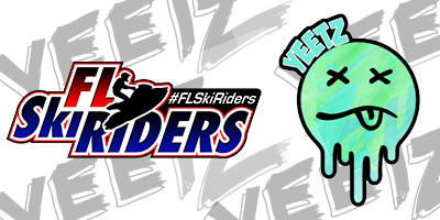 Florida Ski Riders and YEETZ collab graphic with both logos on a cool background jetski lifestyle